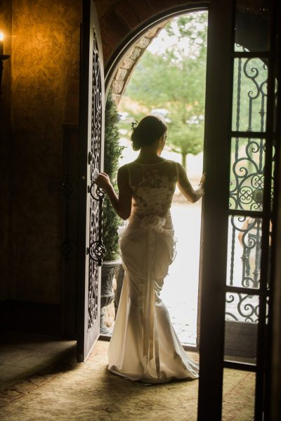 Bride in Manor Entrance